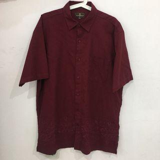 Oregano Dark Red Embroidery Shirt (Kemeja Pria) (Best Deal)
