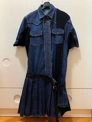 Sacai Denim Pleat Dress Size 1