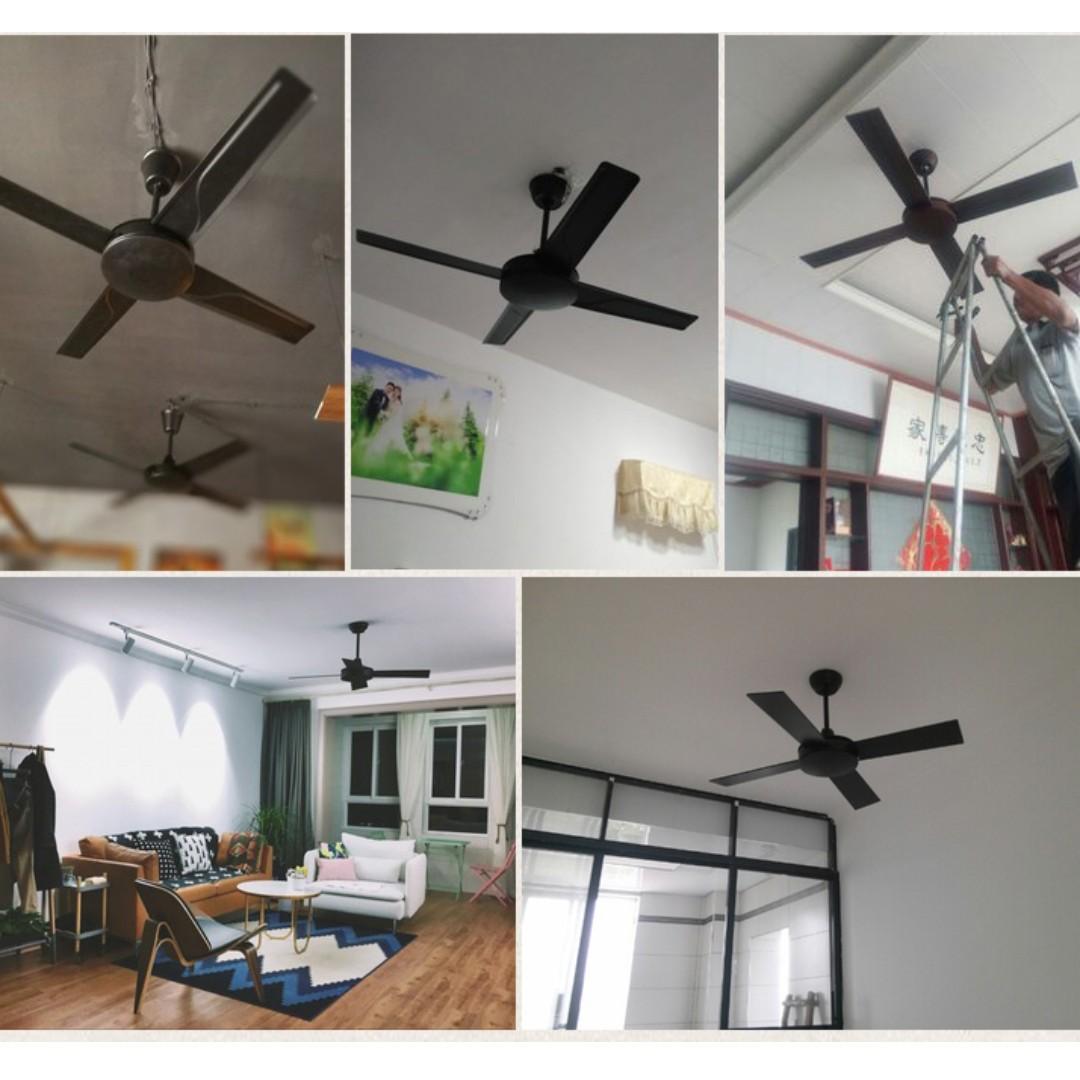 風扇吊扇家用客廳吊扇工業風美式吊扇餐廳電風扇黑色復古吊扇無燈3