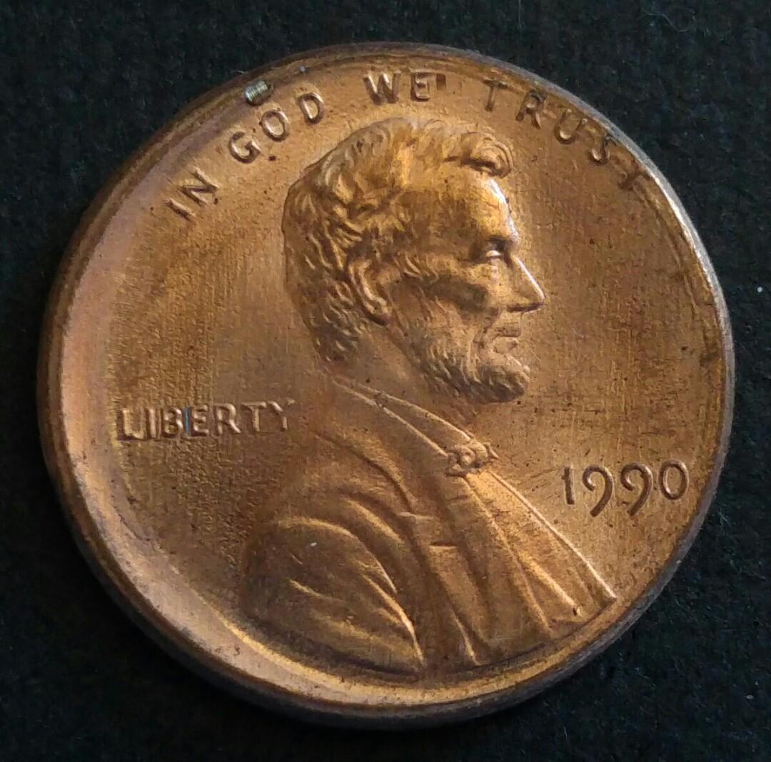 [偏打錯體] 1990年 美國林肯一仙美金 硬幣一枚