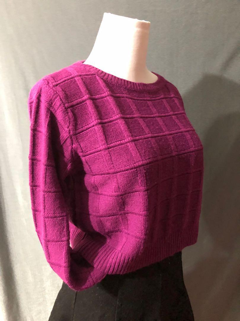 紫紅色 短版 冷衫