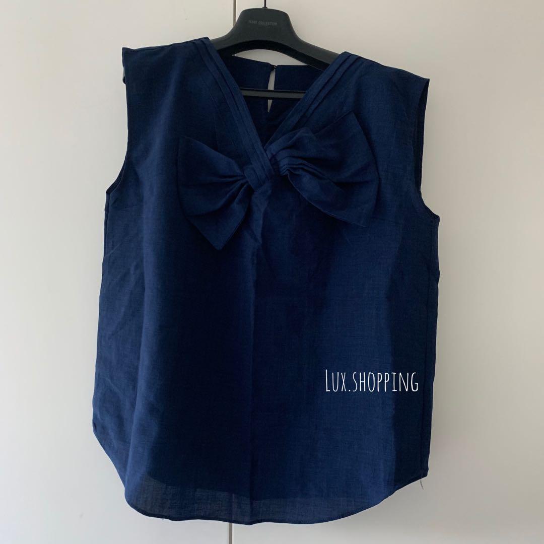 韓國🇰🇷 afternoon cat買 299 深藍色 v領 蝴蝶結 背心 番工 OL 斯文款 navy blue ribbon v neck blouse top上衣 #MTRtst #MTRcentral #MTRcwb #MTRmk