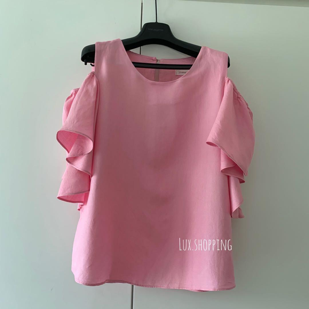 韓國🇰🇷 love brunch 買 499 粉紅色 荷葉邊 飛飛袖 露肩 背心 top 遮手臂 pink ruffles top  番工 #MTRmk #MTRcentral #MTRtst #MTRcwb