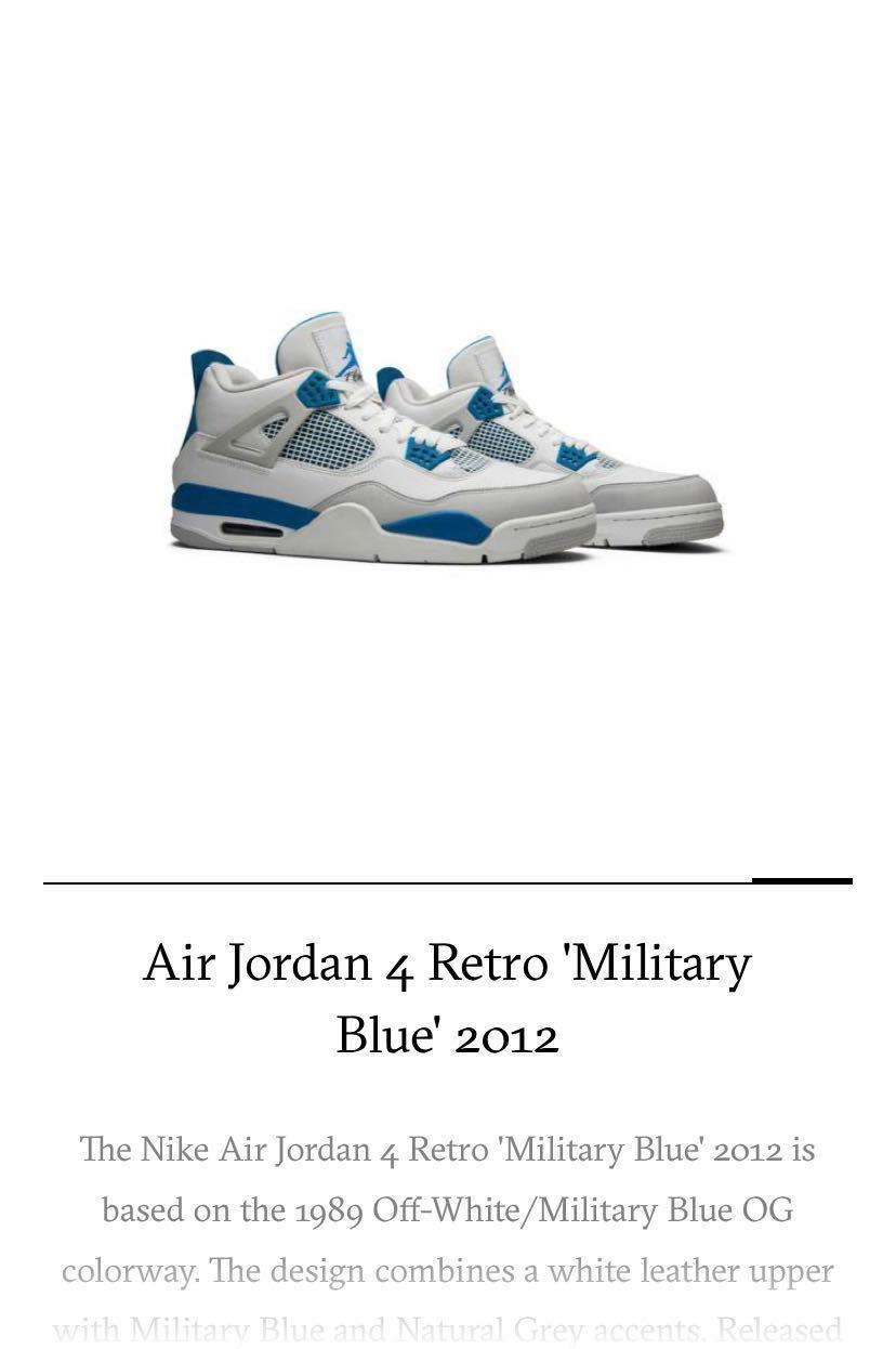 official photos db15e 687bf Air Jordan 4 Retro Military Blue, Men's Fashion, Footwear ...