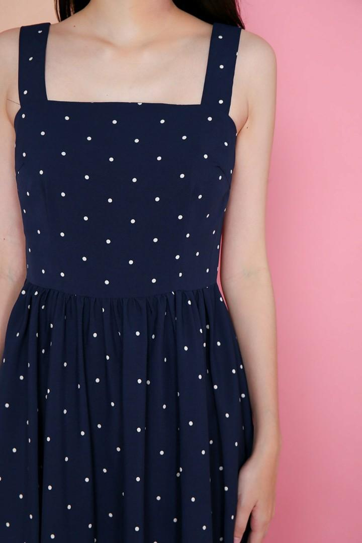 All would envy Avril Navy Polka Dot Swing dress