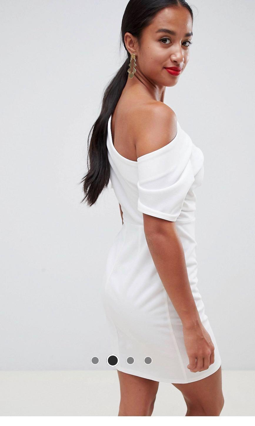 ASOS DESIGN petite pleated shoulder Mini pencil dress