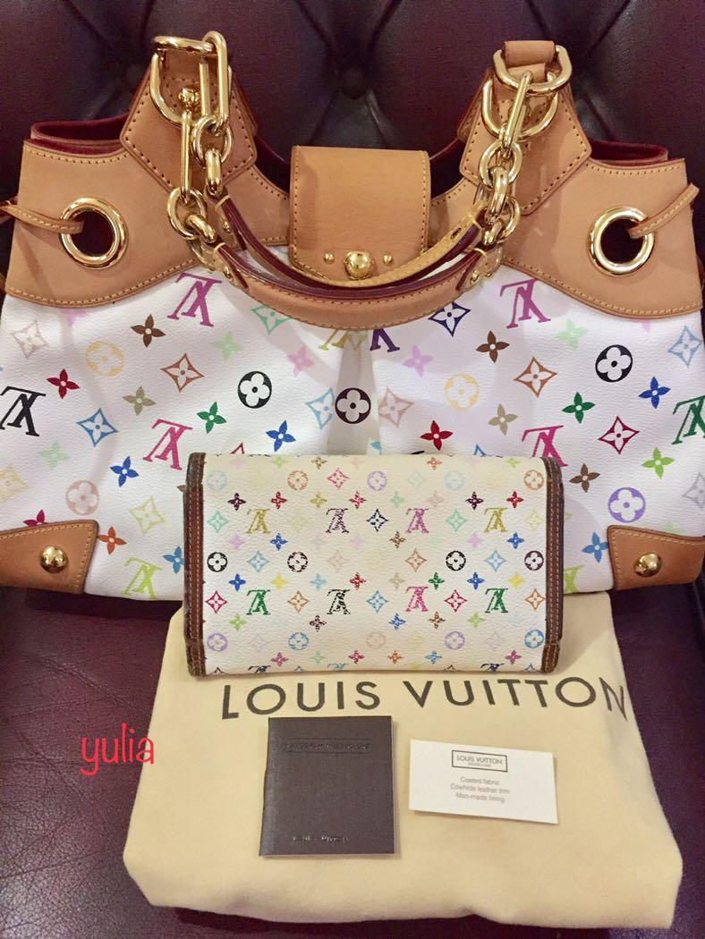 Authentic Louis Vuitton Ursula white multicolor + long wallet