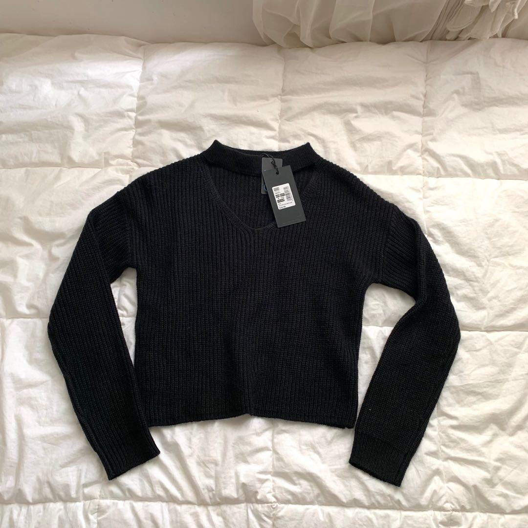 Ava and Ever black choker knit top BNWT
