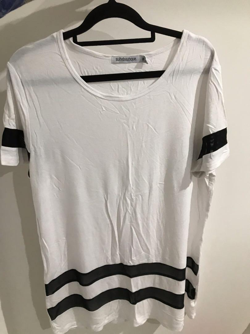 baggy white top with mesh stripes
