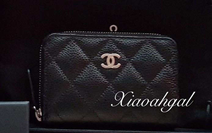 ✔RESERVE in Instalments✔🌟BIDDING🌟Chanel black cavair quilted 3 compartments cardholder wallet clutch pouch