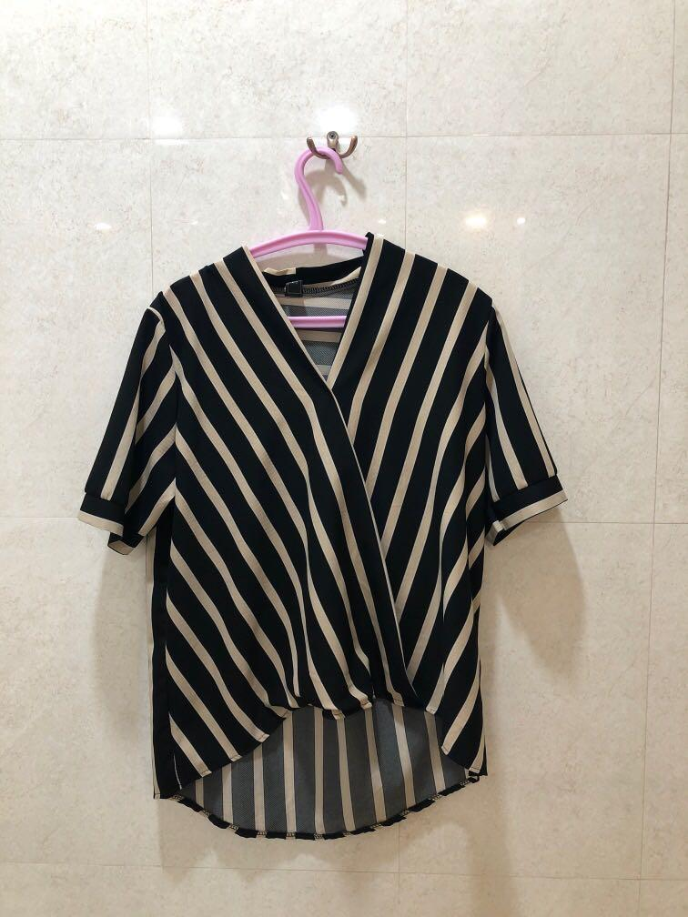 Black and Nude Stripes Top