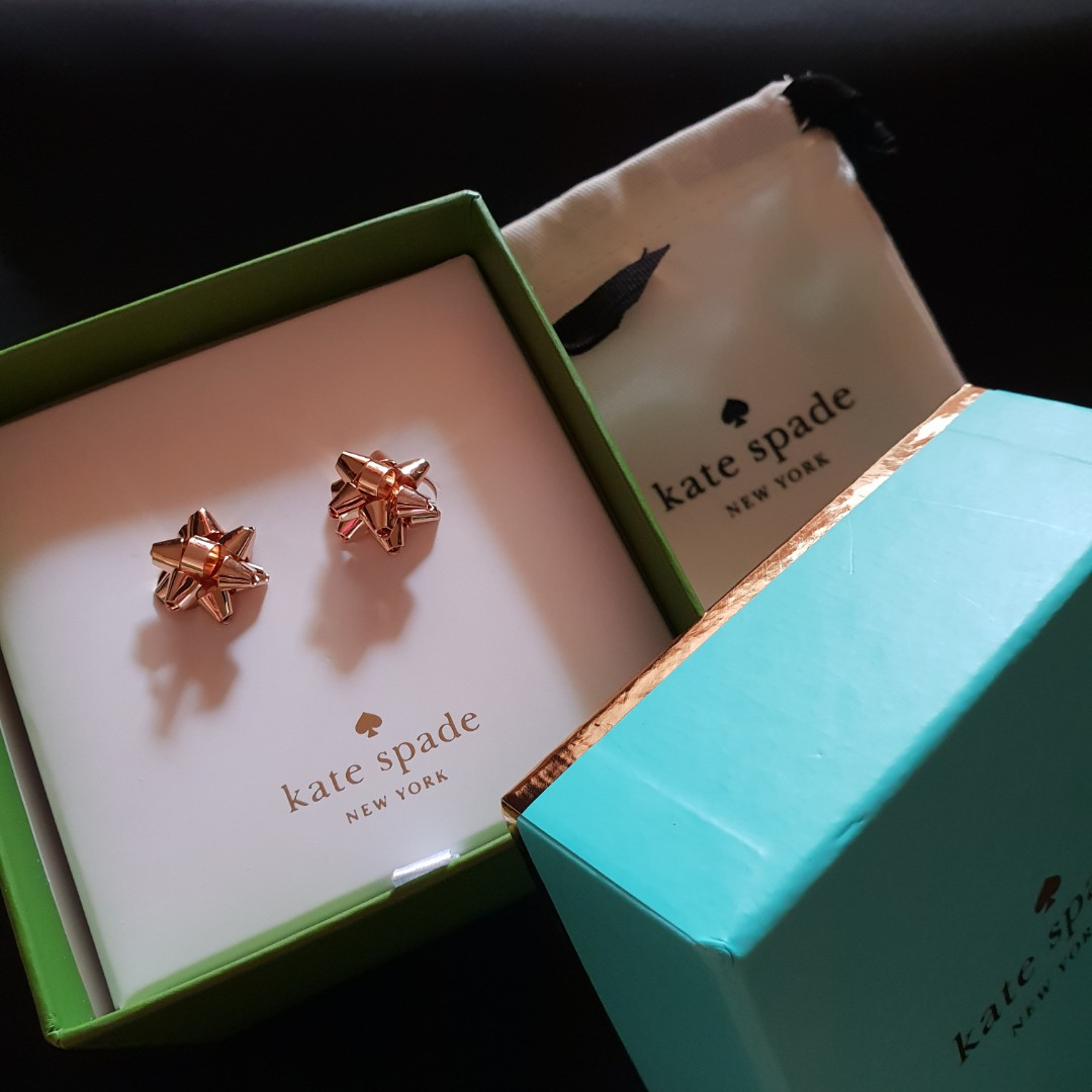 86ca0840cdfa3 BN Kate Spade Bourgeois Bow Earring Studs Gold in Box, Women's ...