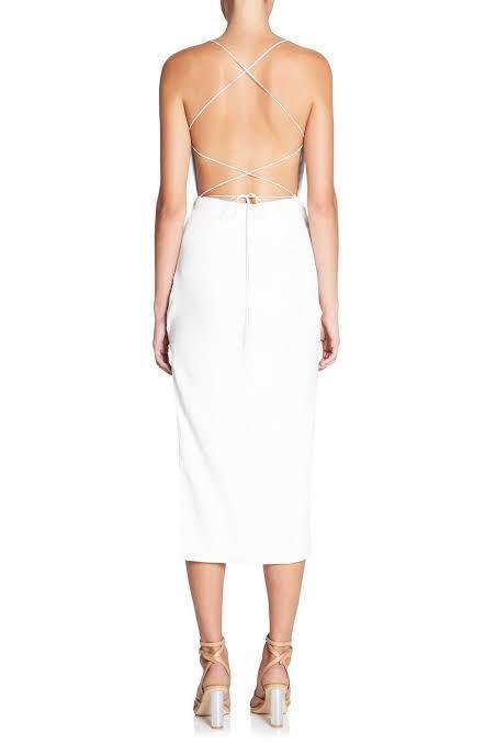 BNWT RRP $399 Manning Cartel Status Update Backless White Dress Size 8