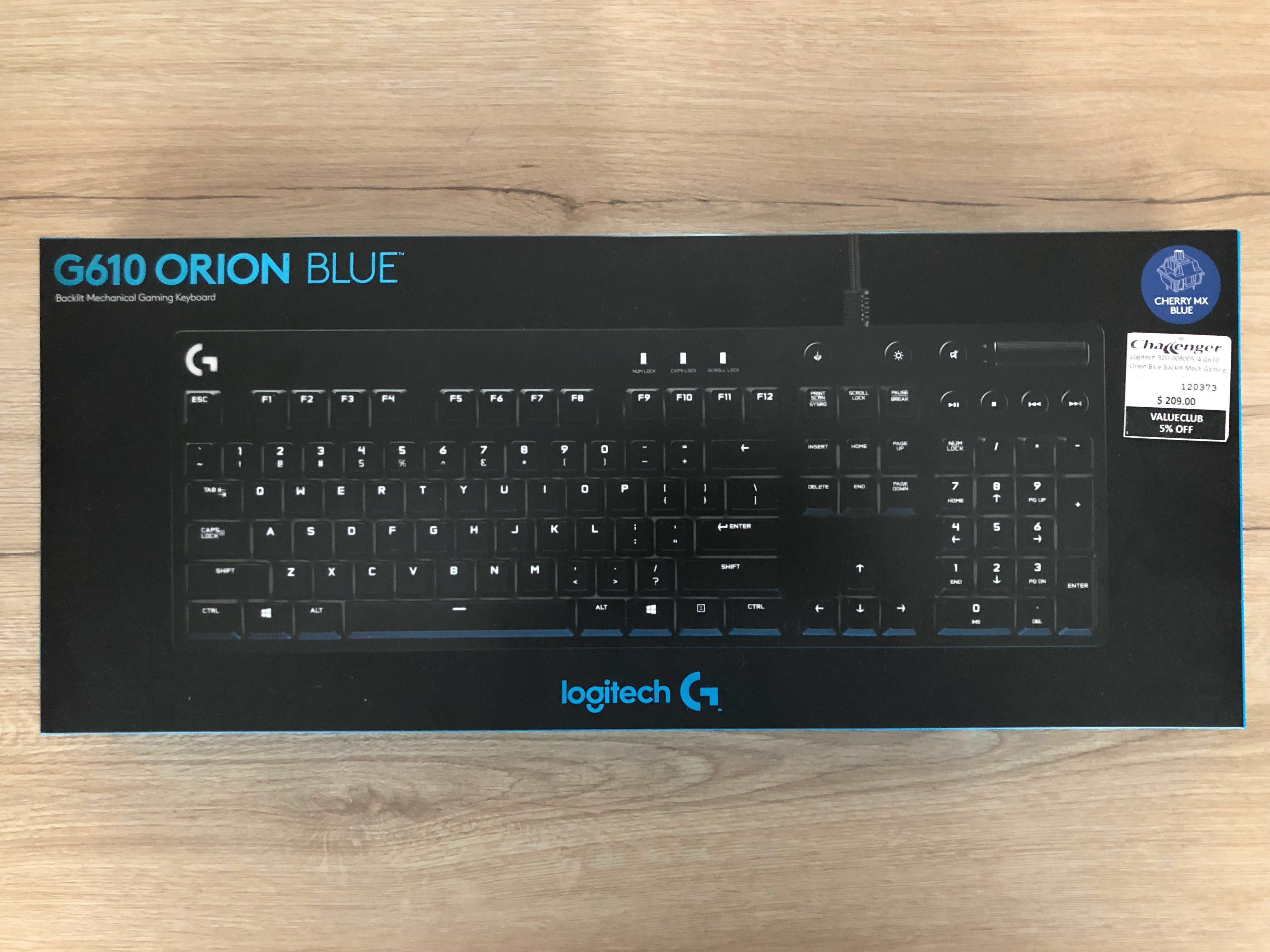 35c0332c019 Brand New Logitech G610 Orion Blue Backlit Mechanical Gaming Keyboard (True  Cherry MX Blue Switches), Electronics, Computer Parts & Accessories on  Carousell