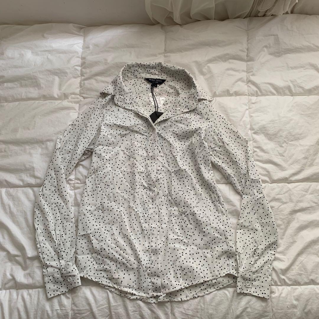 BRAVE SOUL LONDON Mini Heart Print Long Sleeve Shirt