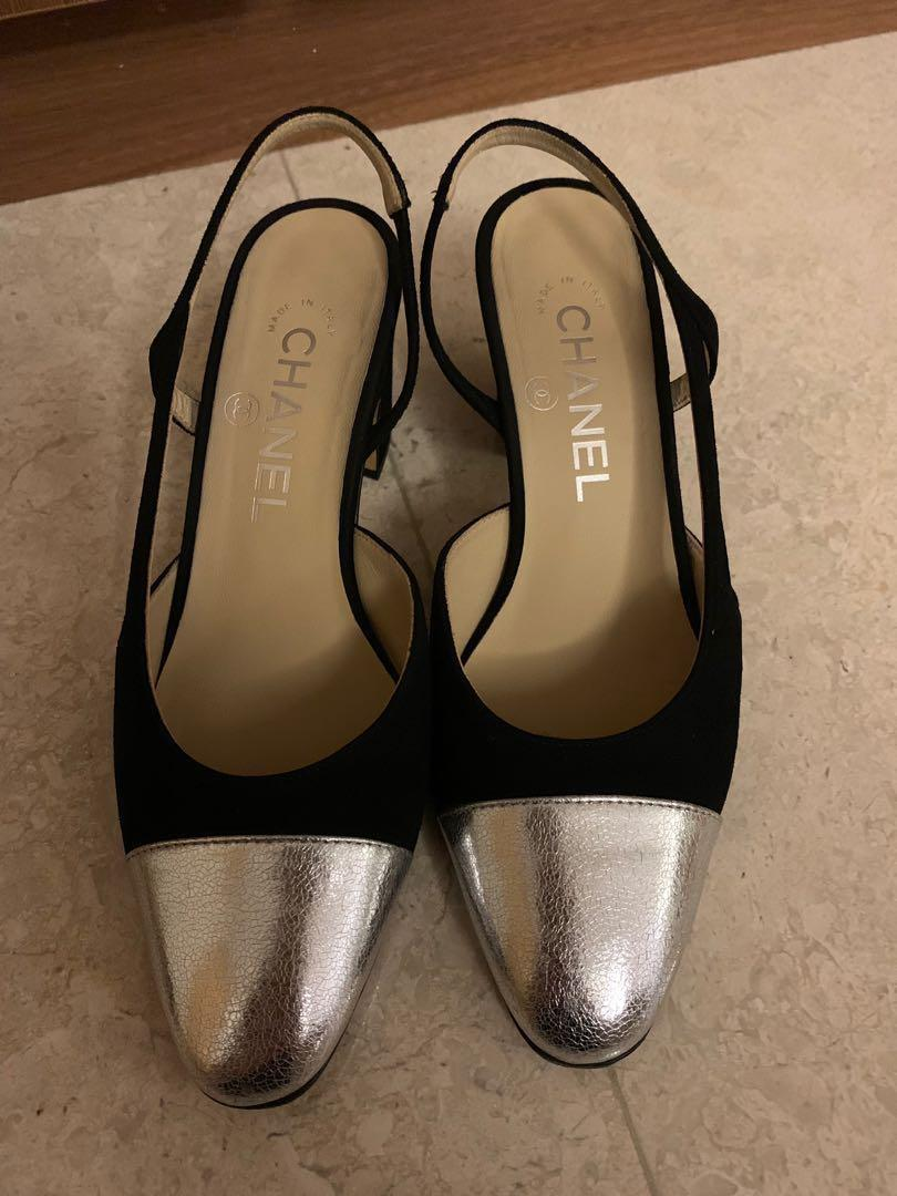 Chanel slingback in silver and black