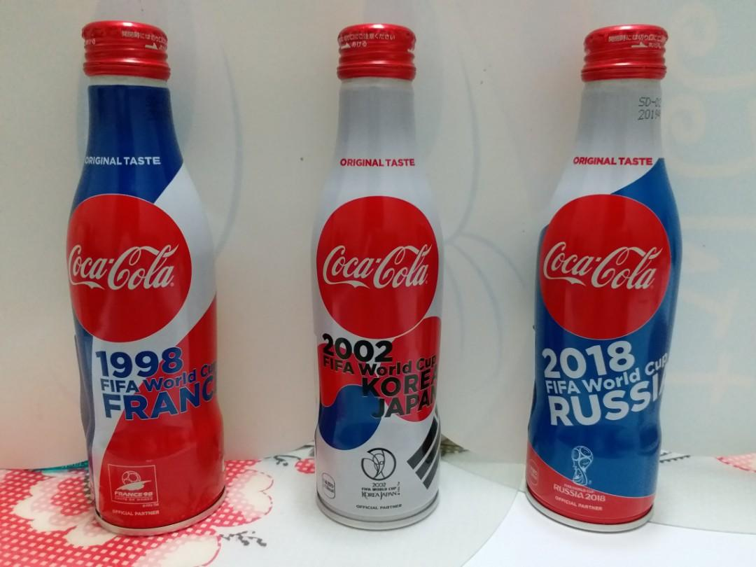 1998, 2002 and 2018 FIFA World Cup Coke aluminum bottles