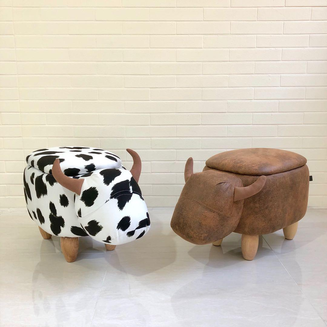 Cow Ottoman Animal Stool Kids Footstool with Storage