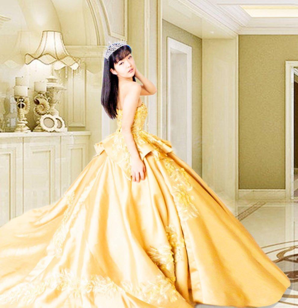 Image result for yellow gold gown