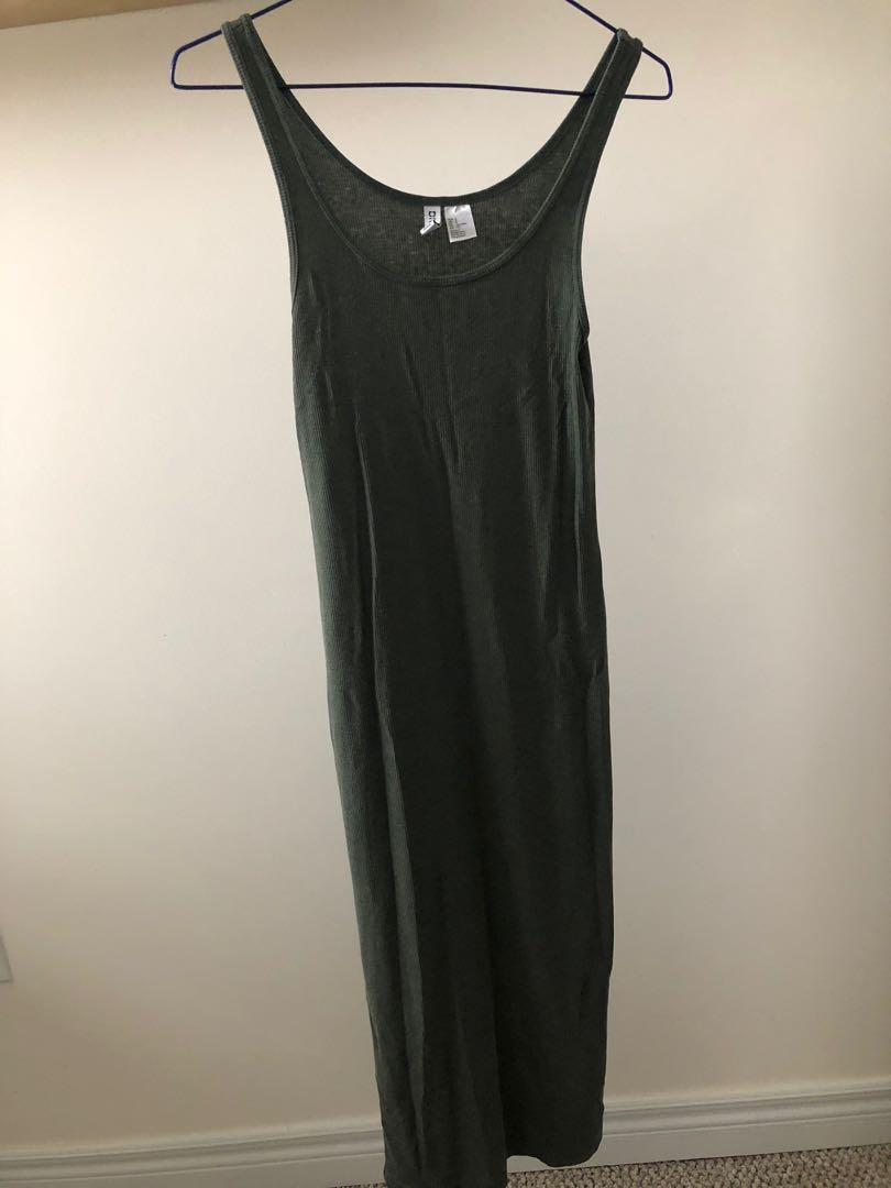 H&M knit body con rubbed tank dress
