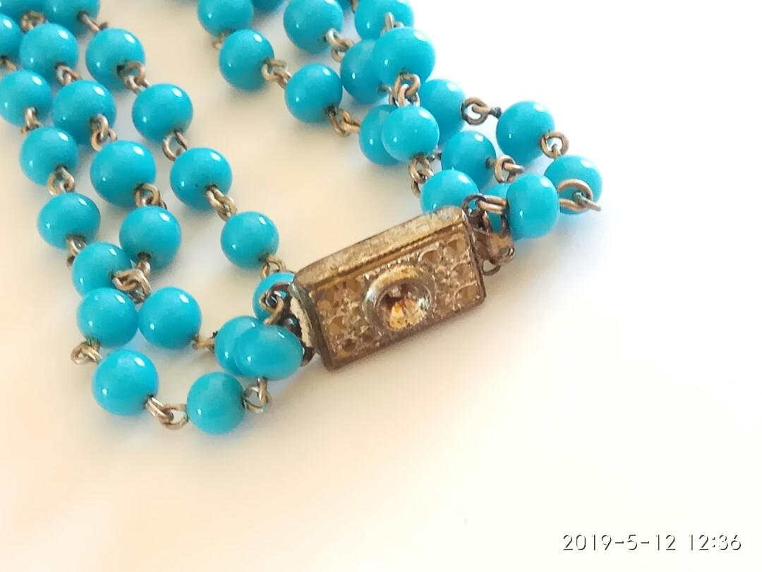 Japanese lightning blue layered beaded necklace with vintage clasp