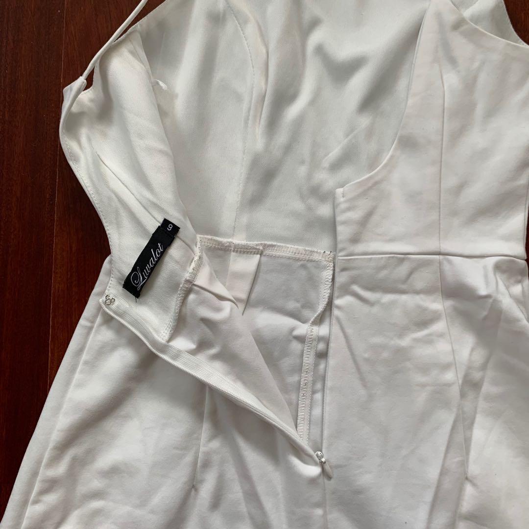 Luvalot White Low Back Mini Dress Size 6