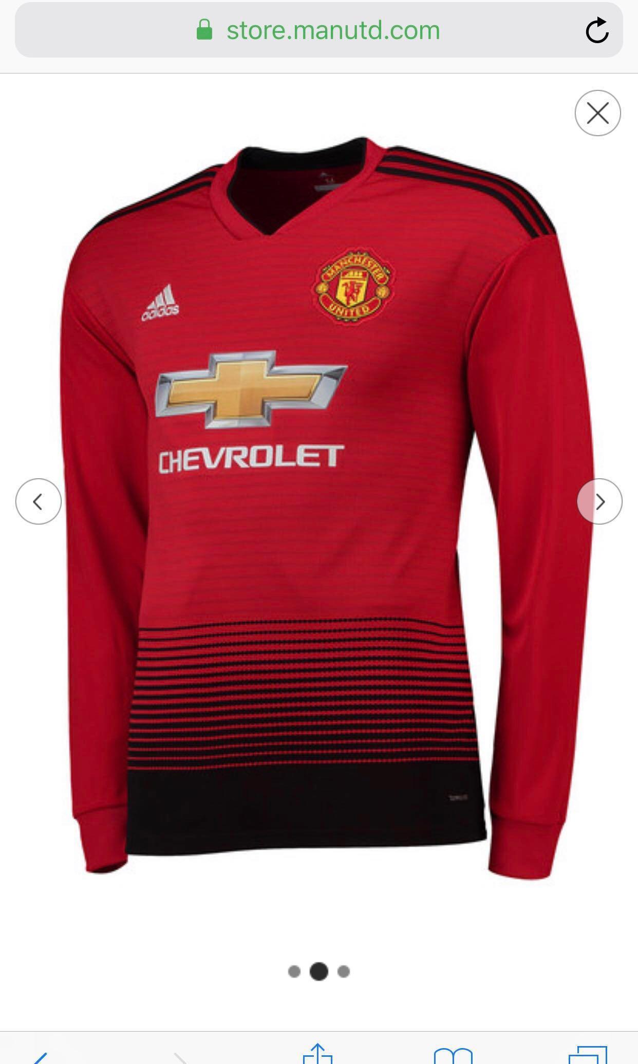 half off 88f81 3e6f8 Manchester United Home Shirt 2018-19 - Long Sleeve (XXXL ...