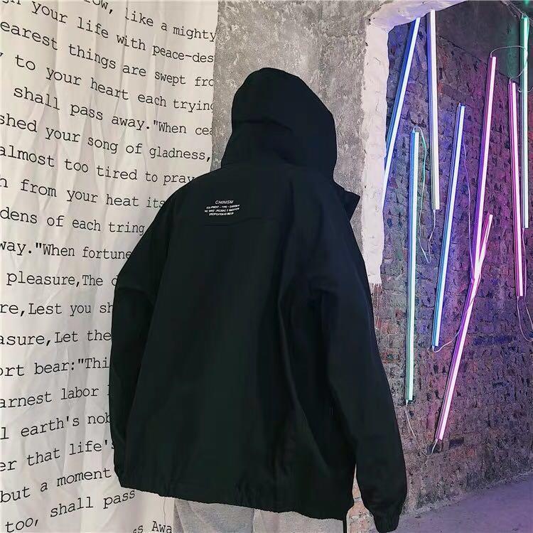 ✨(mcs) free your mind reflective strip hooded windbreaker jacket