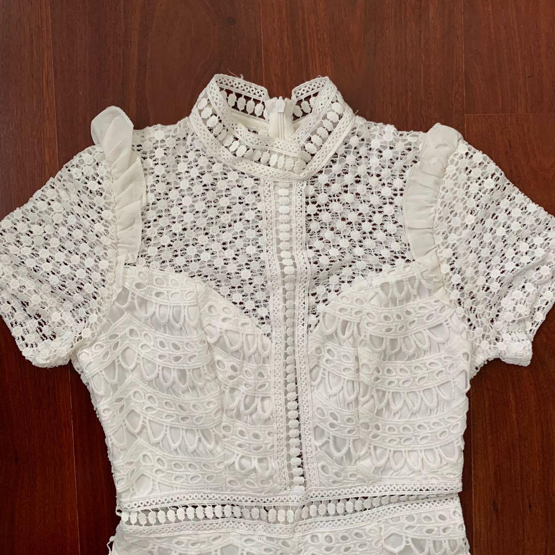 MorningMist White Lace Playsuit Size 6