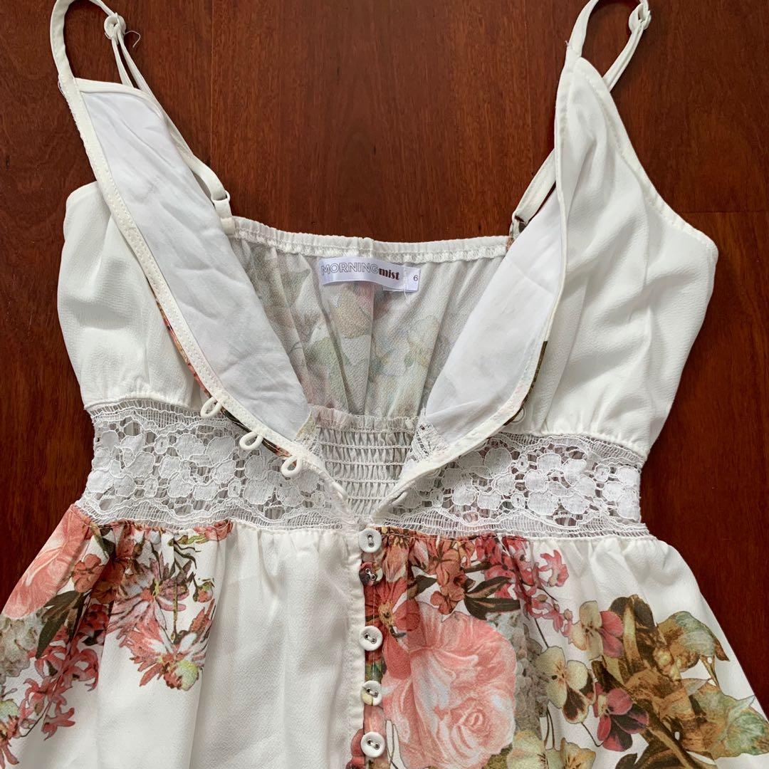 MorningMist WhiteFloral Maxi Dress