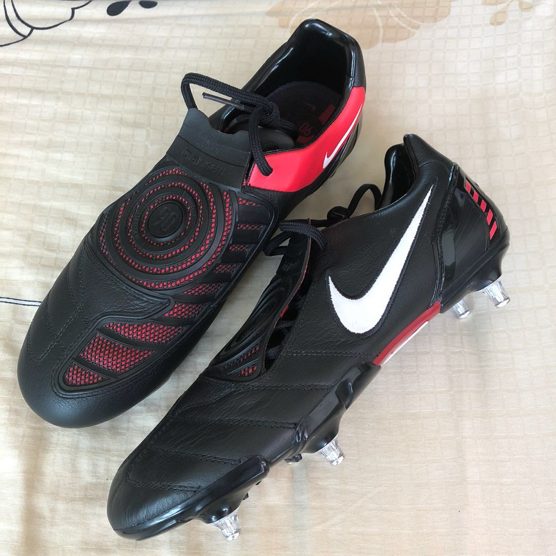 3838a9c7f2a Nike T90 Total 90 Laser Black Red leather boots SG Rare Soft Ground ...