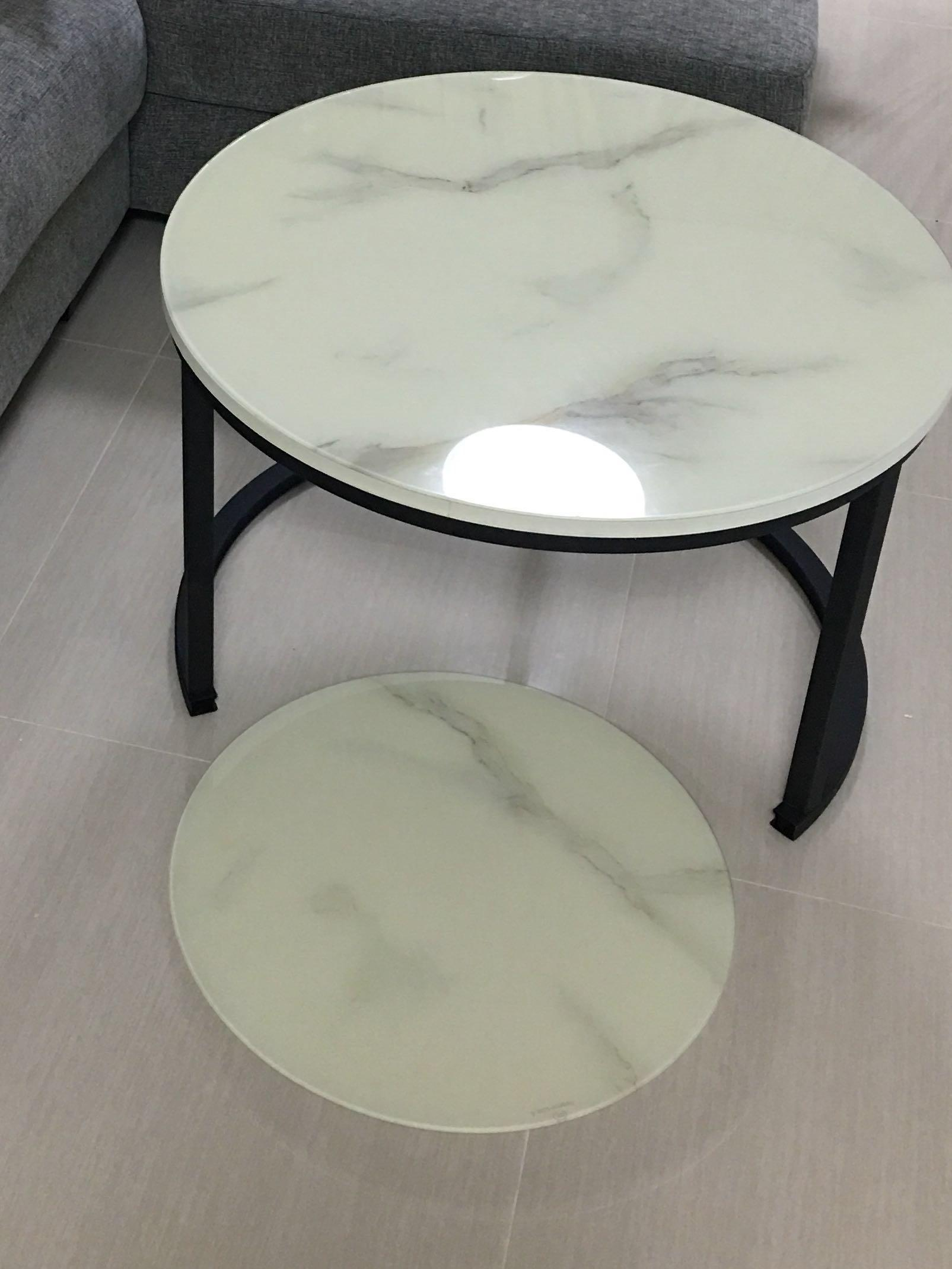 NOT marble Round Coffee Table - set of 2