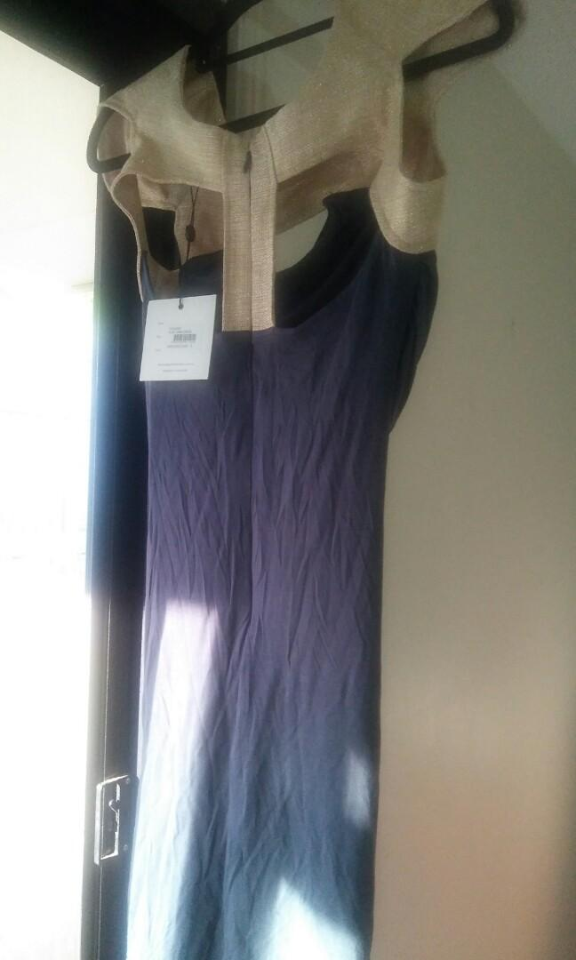 NWT FINDERS KEEPERS 'IN MY ARMS' BLUE/GOLD BODYCON DRESS- AUS 6