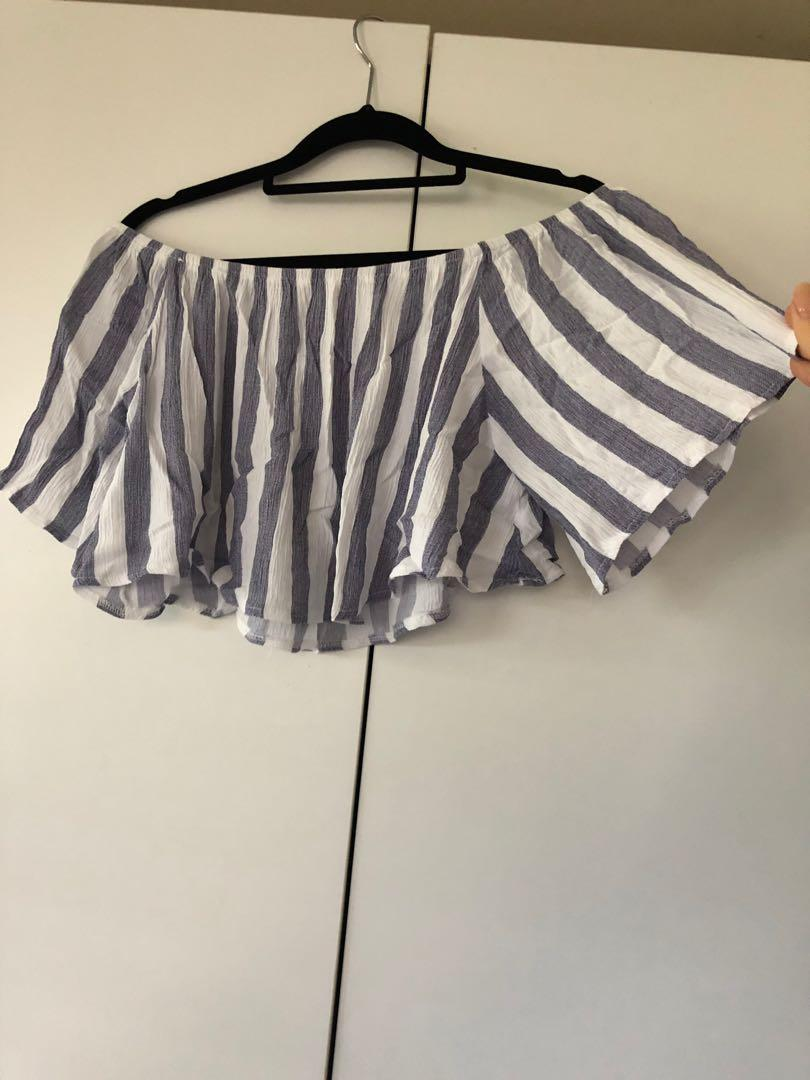 Off shoulder blue and white stripe top. Worn once. Size 10
