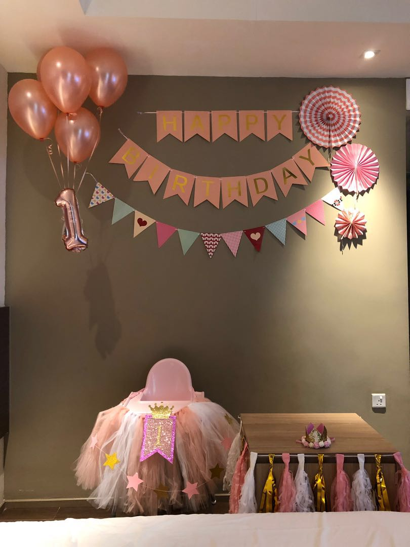 One 1 Year Old Girl Pink Birthday Decorations Design Craft