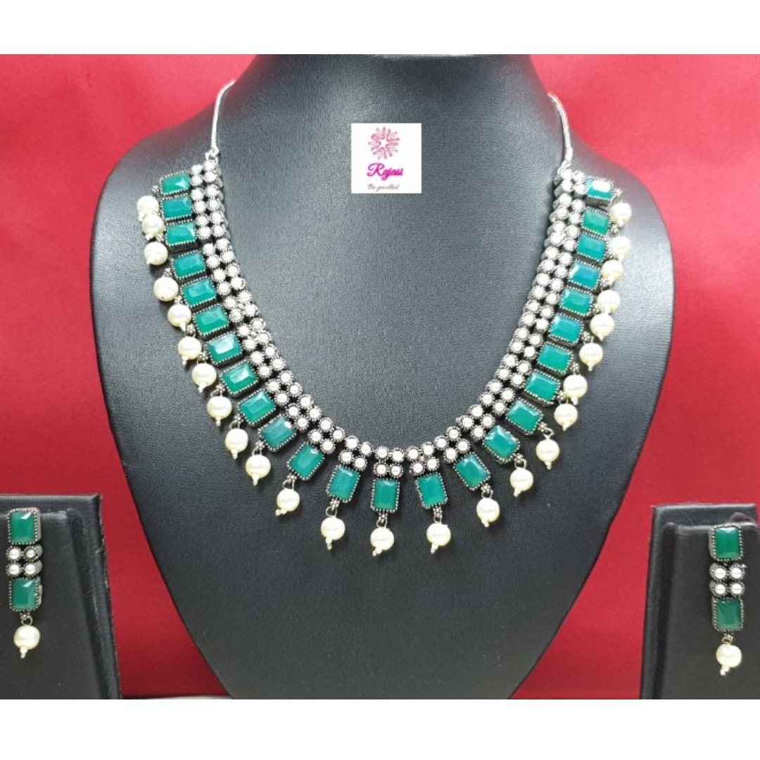 3821329fb OXD19-64 Oxidised /Oxidized German Silver Necklace studded with green  stones and pearls and with earrings, Women's Fashion, Jewellery, Necklaces  on ...