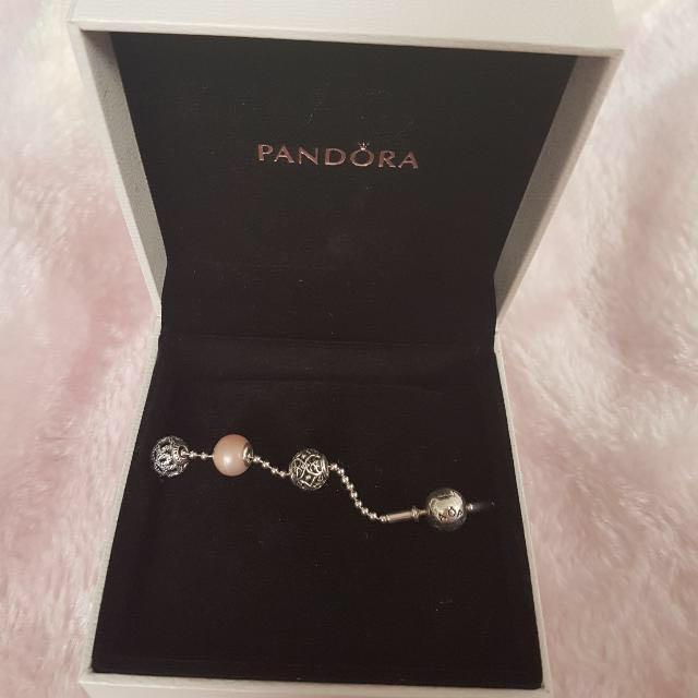 Pandora essence braclet and 3 charms