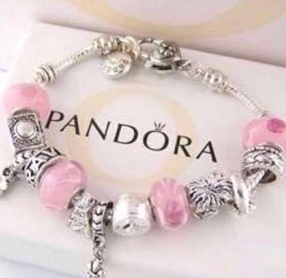 Pandora pink charm bracelet