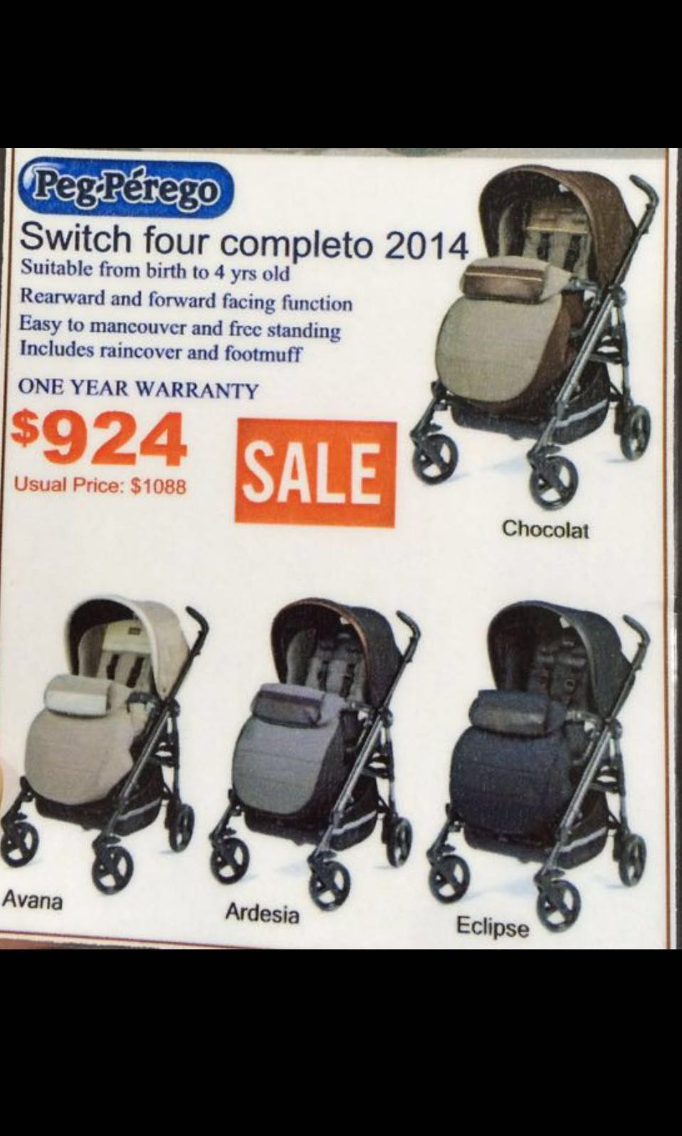 Peg Perego Switch Four Stroller In Denim
