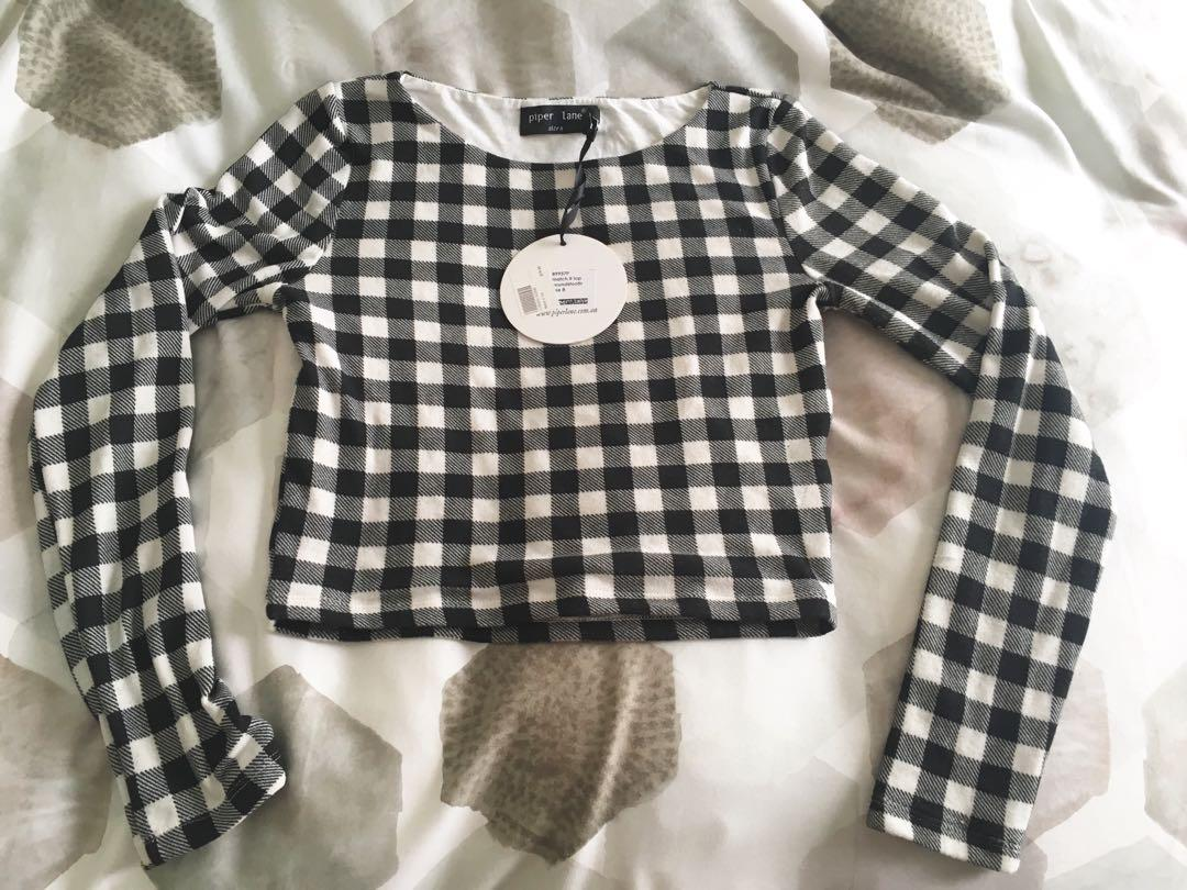 Piper Lane, 'Match it' long sleeve houndstooth crop top