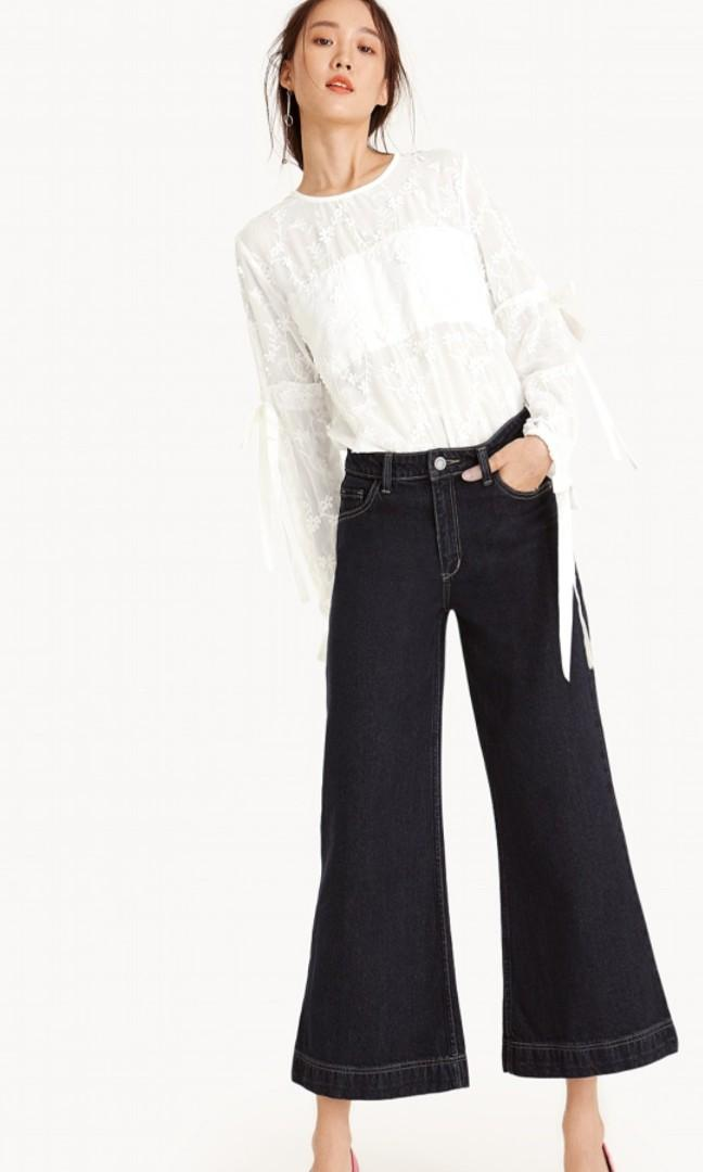Pomelo mid rise flared culotte jeans