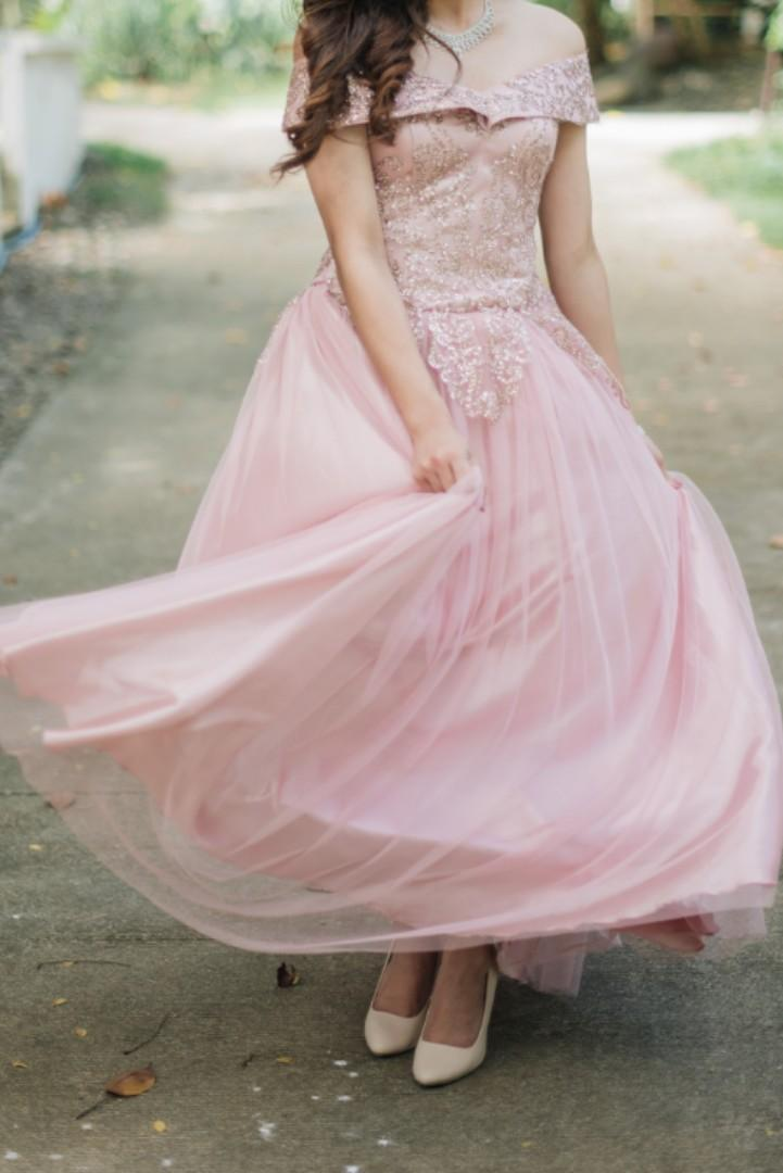 RENT ONLY | Dusty Pink Off Shoulder Ball Dress / Gown