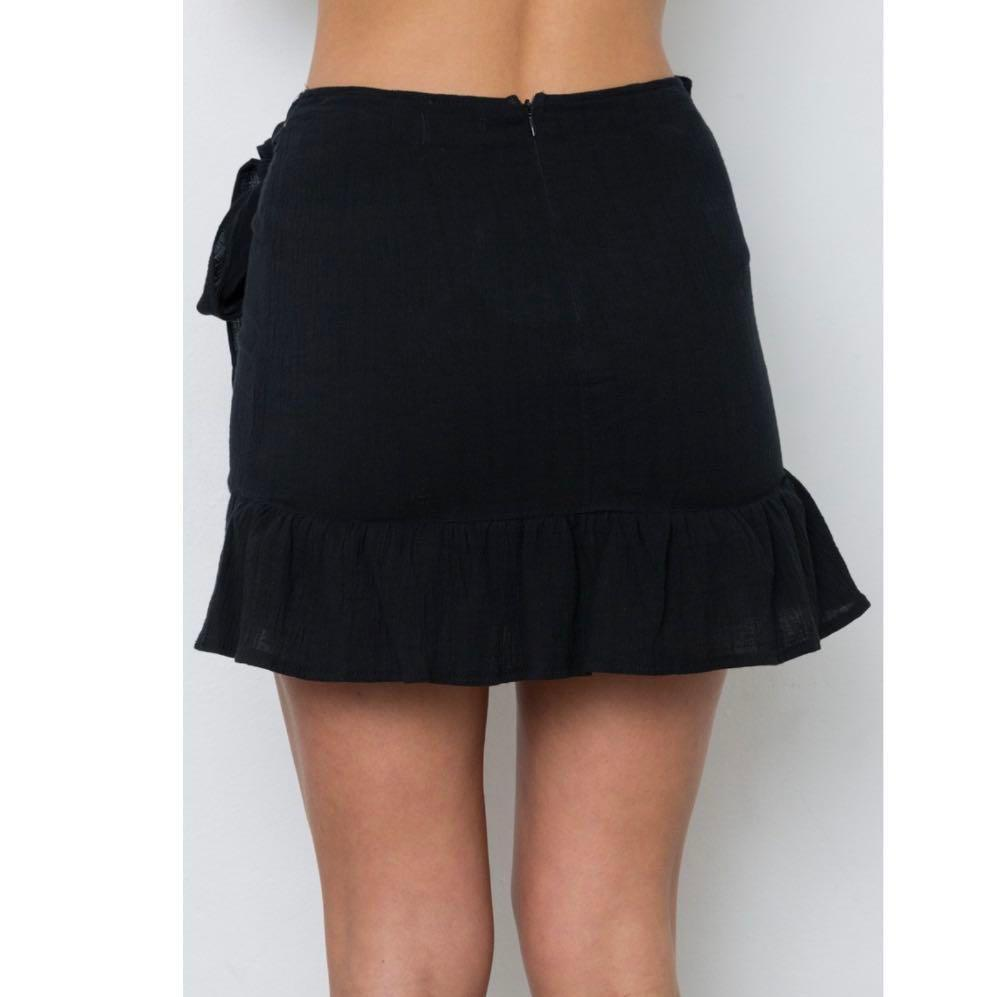 Rumor Black Wrap Mini Skirt Size 6