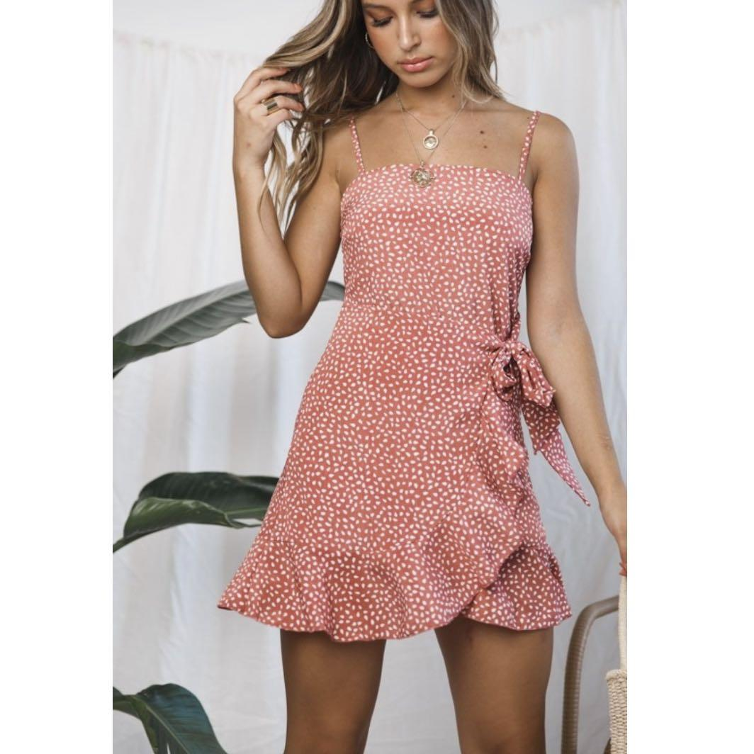 Rumor Pink Wrap Mini Dress Size 6