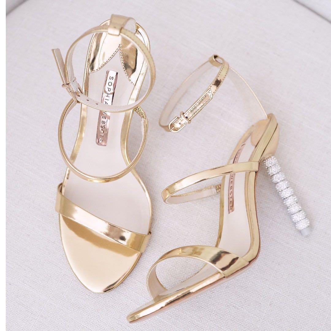SOPHIA WEBSTER Size 5/6 Gold Rosalind Crystal Heels Wedding Shoes