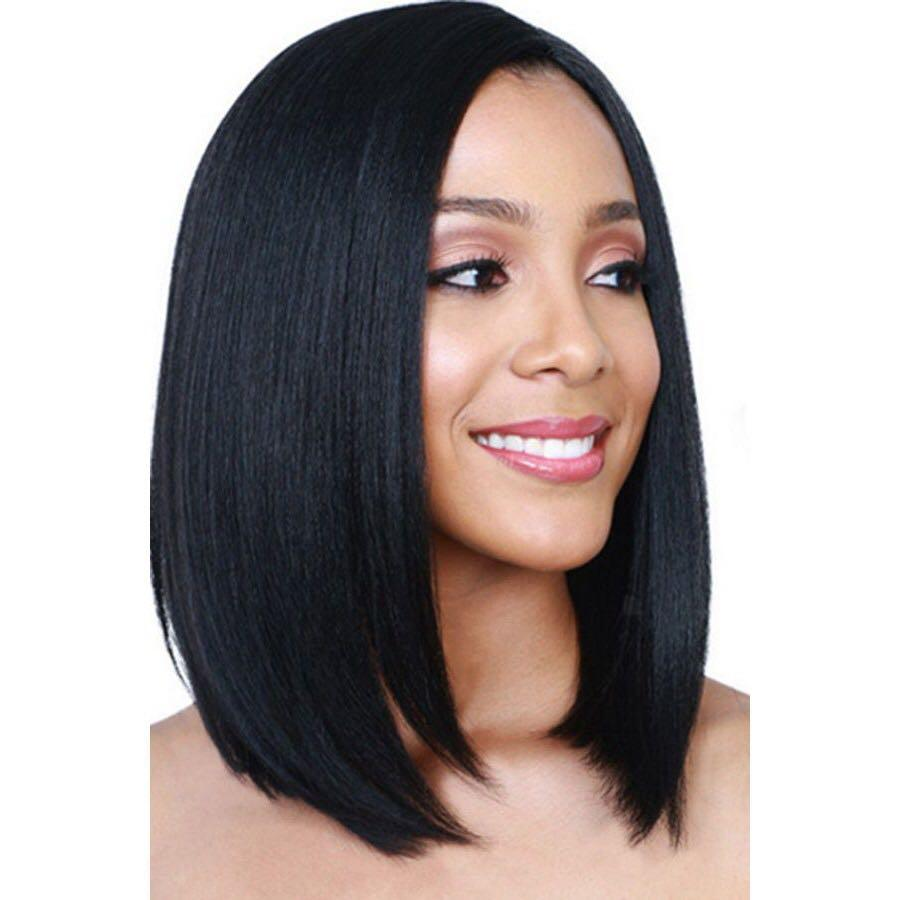 Straight Bob Haircut Middle Part Black Synthetic Wig