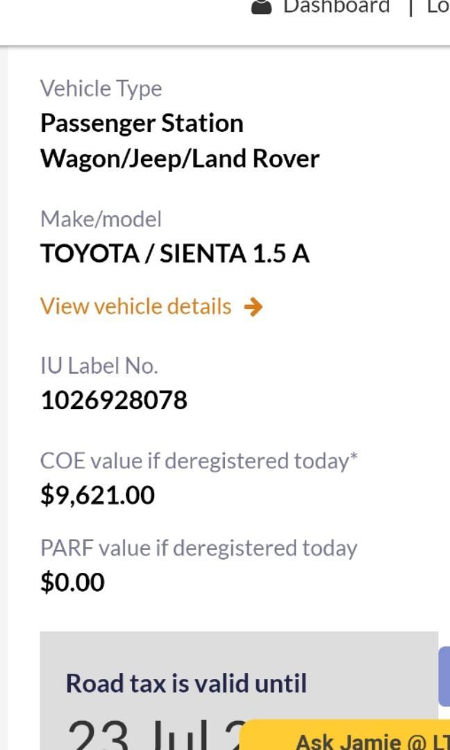 Toyota Sienta 1.5 Standard Auto