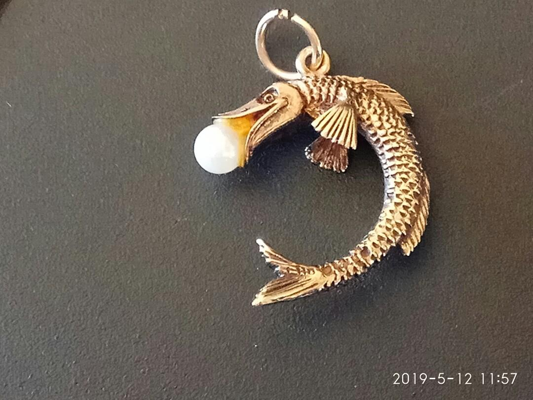 Vintage 9ct gold fish pendant charm with seed pearl, full set of English hallmarks