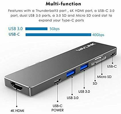 "WAVLINK Aluminum Thunderbolt 3 USB-C Hub Adapter for MacBook Pro 13"" or 15' USB Min Dock - 5K@60Hz, 40Gb/S, 4K HDMI, Pass-Through Charging, SD/Micro Card Reader, 2 USB 3.0, with Case-Grey"