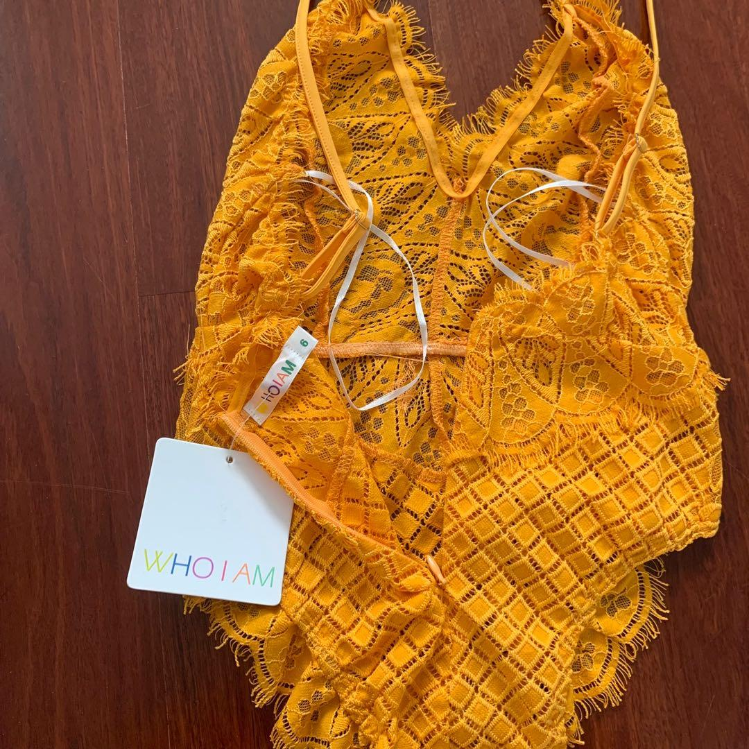 WhoIAm Yellow Lacy Bodysuit Size 6
